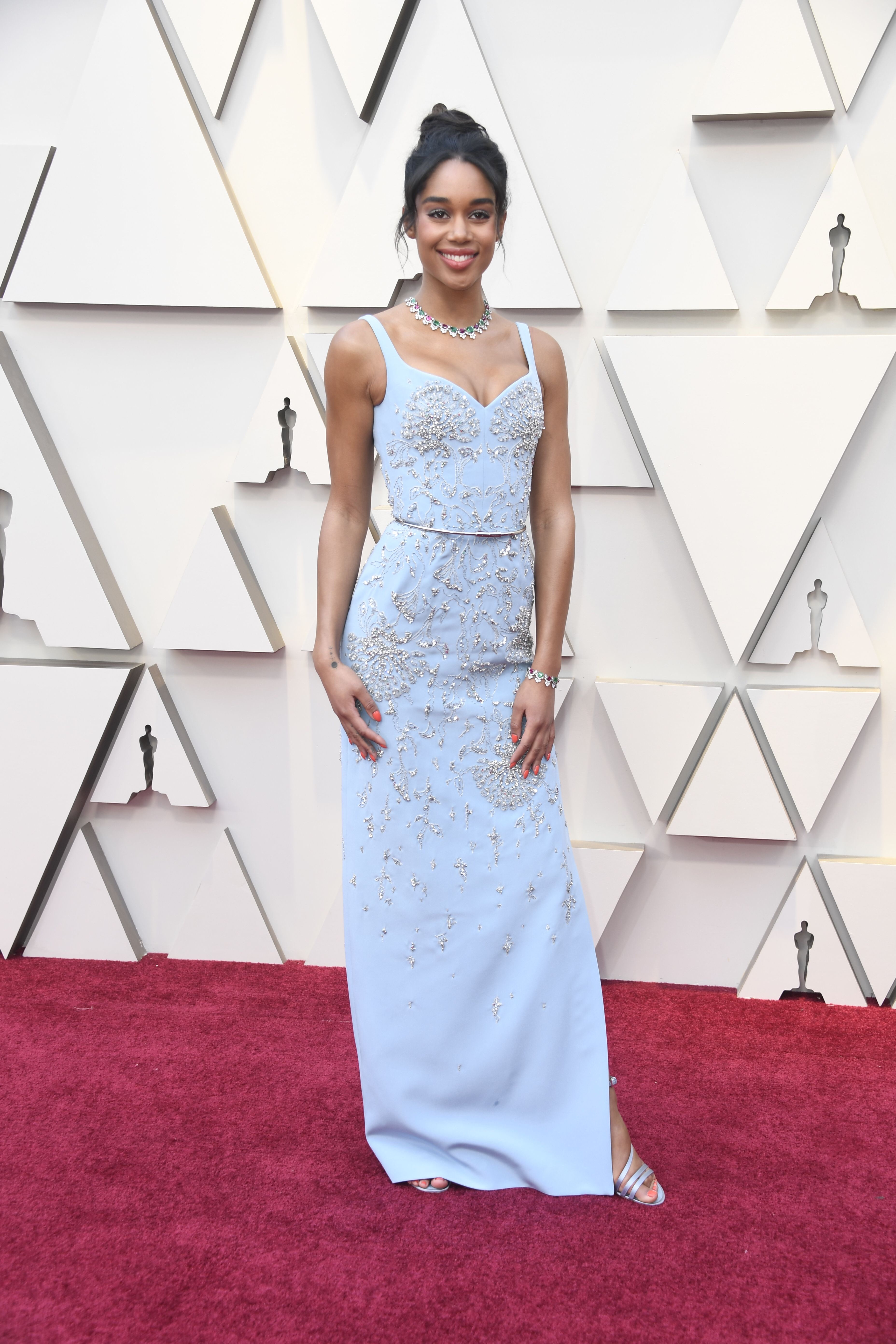 Actress Laura Harrier wears a custom-made, 'eco-friendly' Louis Vuitton dress, partnering with the Red Carpet Green Dress initiative for the 91st annual Academy Awards red carpet.